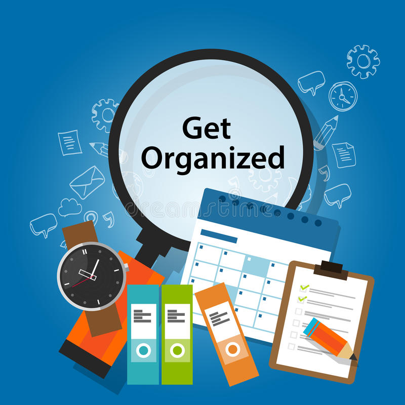 Get ha organizzato il ricordo d'organizzazione di produttività di concetto di affari di pianificazione illustrazione vettoriale