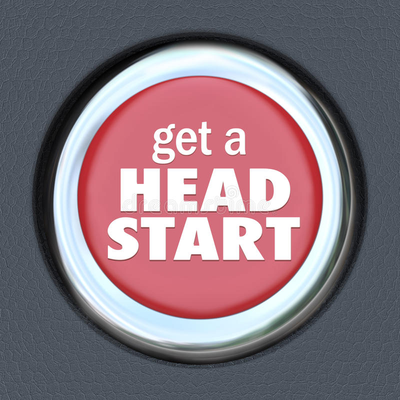 Get Head Start Red Button Competitive Advantage Early Edge royalty free illustration