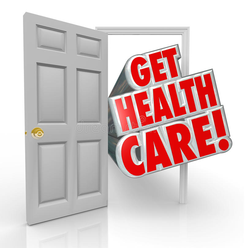 Get Health Care Insurance Coverage Open Door. Get Health Care words coming out open door to illustrate insurance coverage or getting treatment at a doctor office royalty free illustration
