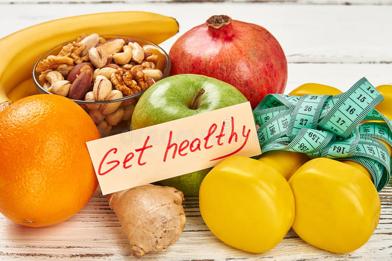 Get healthy card and fruits. royalty free stock image