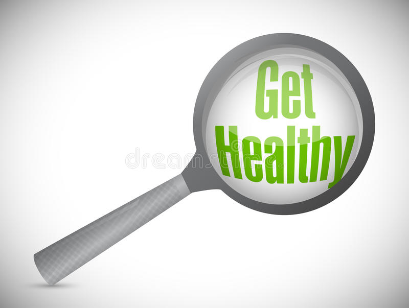 Get healthy magnify glass illustration. Design over a white background stock images