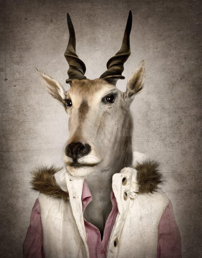 Get i kläder Digital illustration i mjuk stil för olje- målning arkivfoto