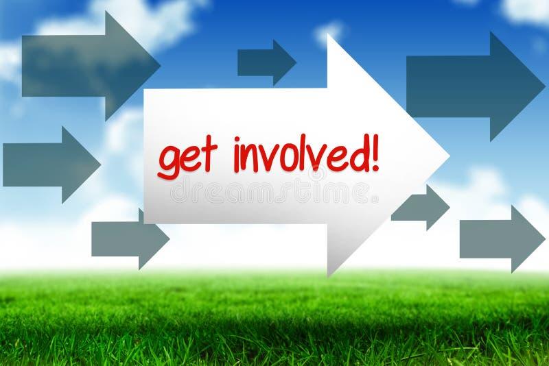 Get involved! against blue sky over green field stock illustration
