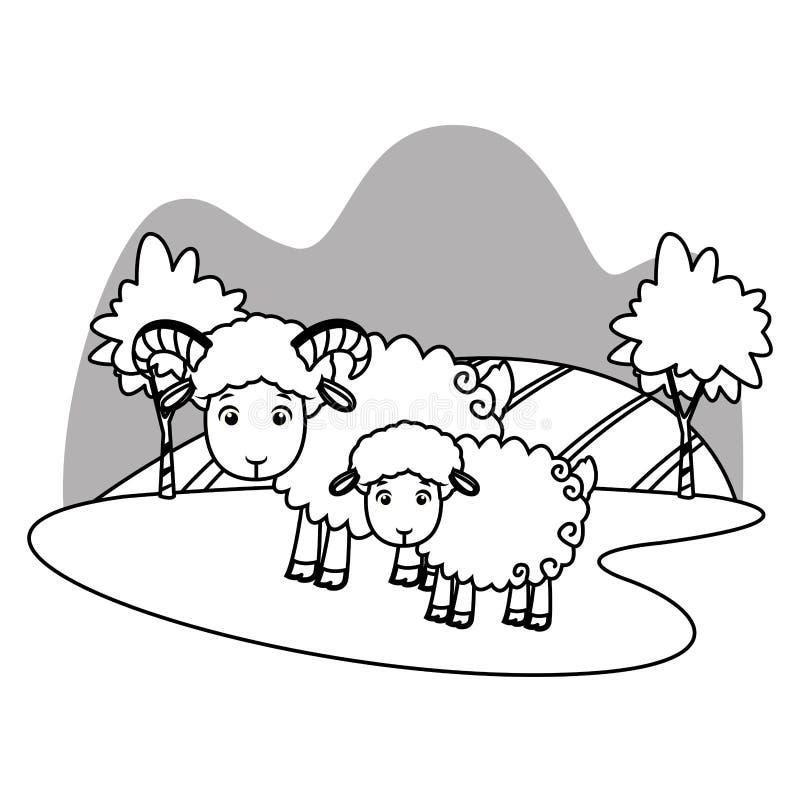 Get med valpen i naturlandskaptecknad film i svartvitt stock illustrationer