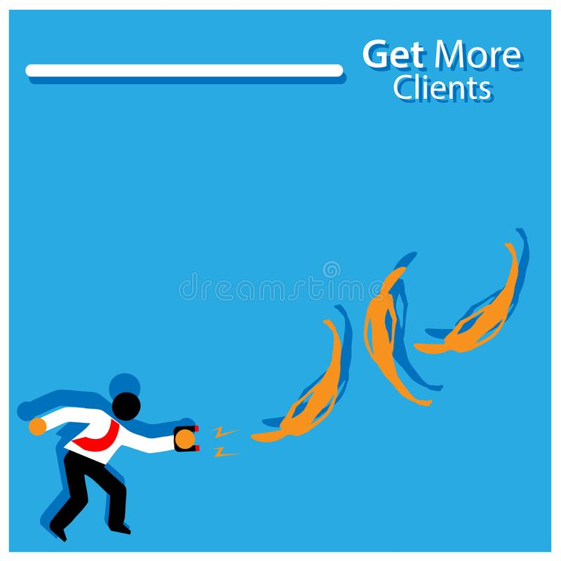 Get more clients with people sign. Flat vector illustration on white background. EPS file available. see more images related vector illustration