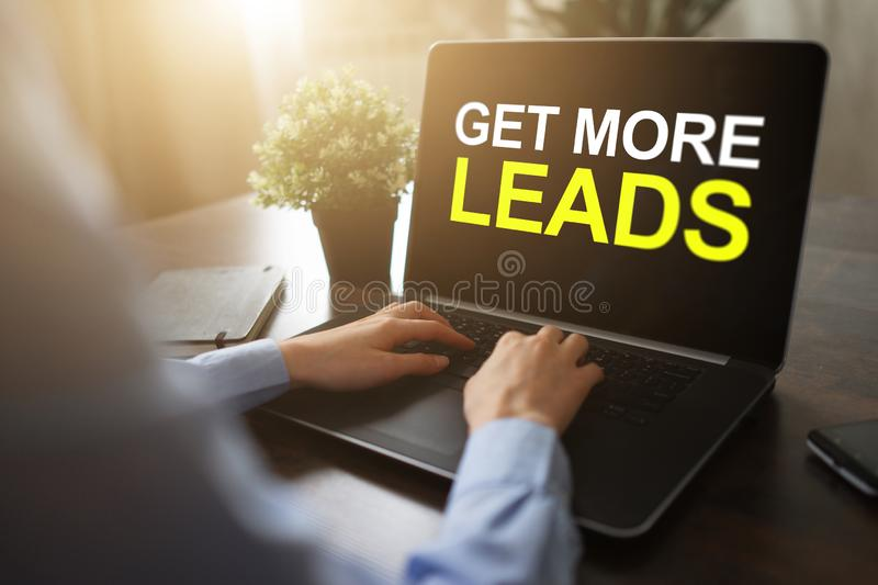Get more leads banner. Digital marketing and sales increase concept on device screen. stock photography
