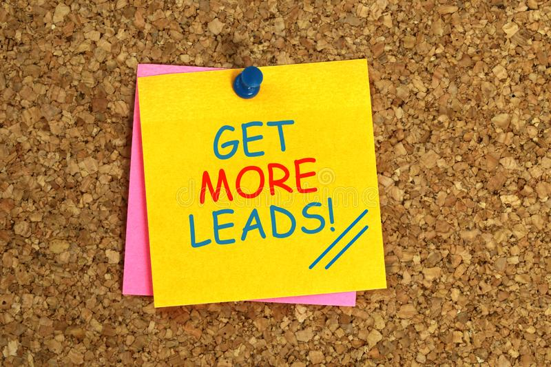 Get more leads sticky. On yellow paper stock photography