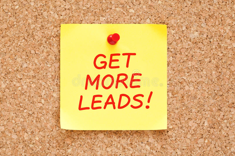 Get More Leads On Yellow Sticky Note stock photography