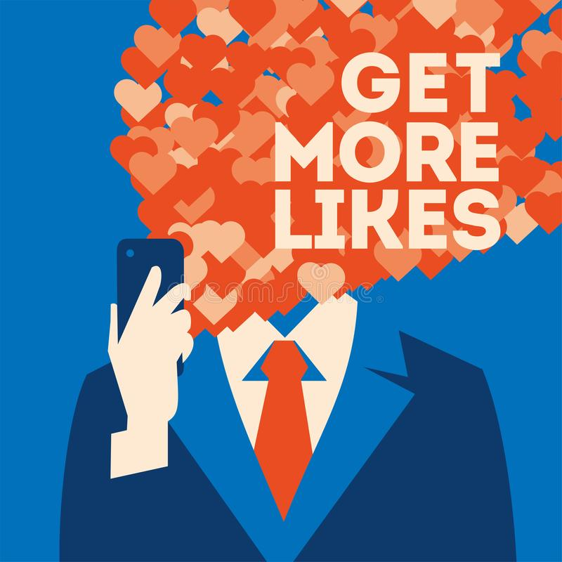 Get more likes poster. Businessman holding smartphone with social network royalty free illustration
