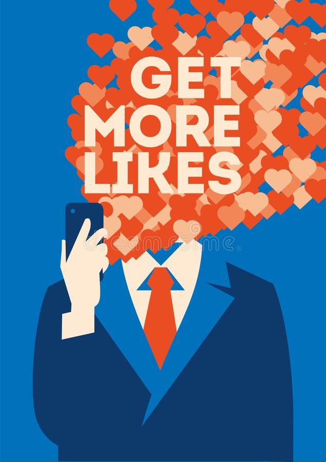Get more likes poster. Businessman holding smartphone with social network vector illustration