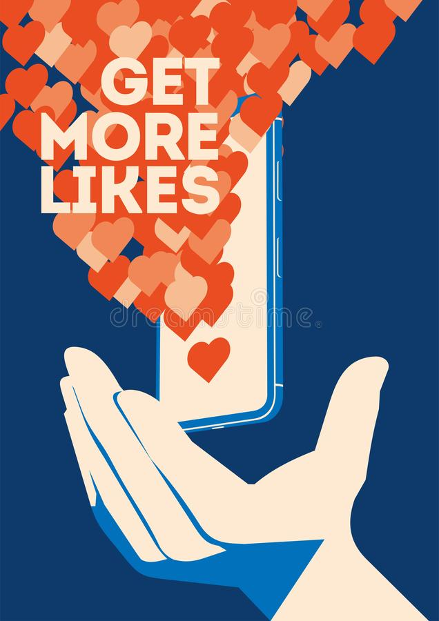 Get more likes poster. Hand holding smartphone with social network vector illustration