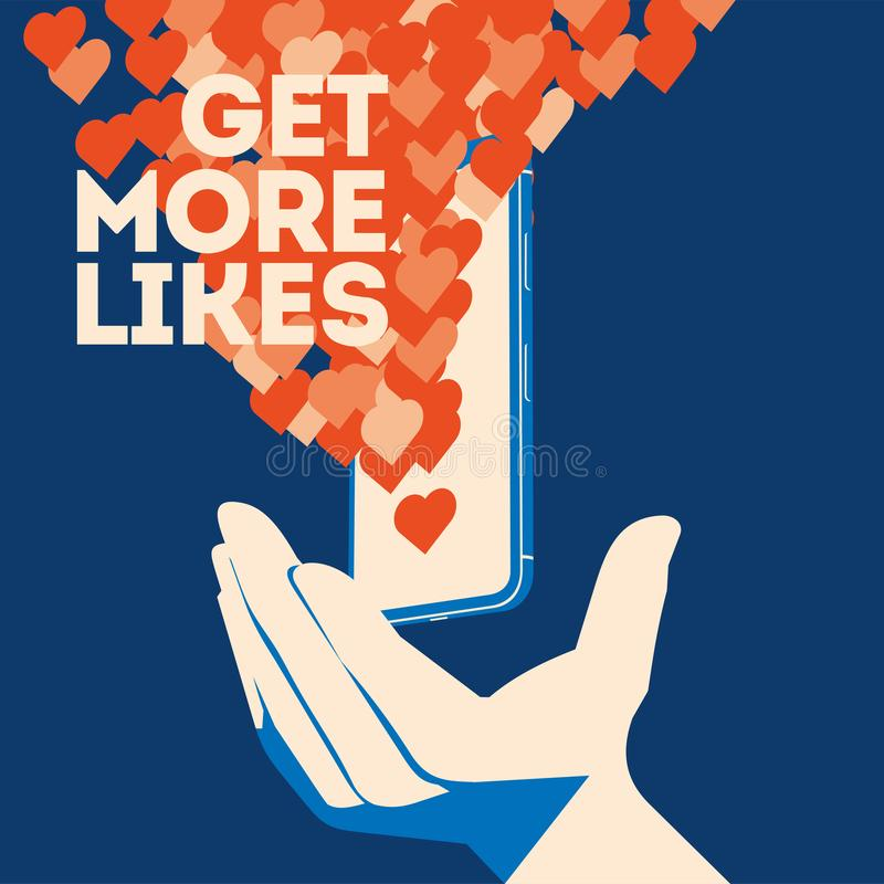 Get more likes poster. Hand holding smartphone with social network stock illustration