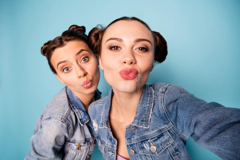 Get our love lovers. Close up photo of attractive nice teenagers friends students teen feeling romance romantic flirty stock photos