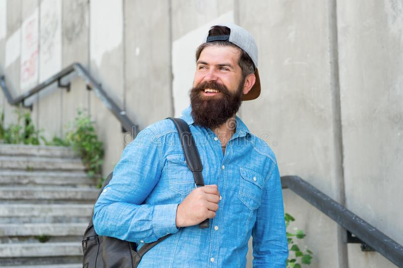 Get out there. Male barber care. brutal hipster with travel backpack. hiking adventure concept. urban style. Mature. Hipster with beard traveller. Bearded man royalty free stock image