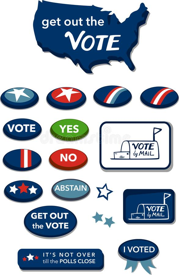 Get out the Vote Buttons United States of America vector illustration