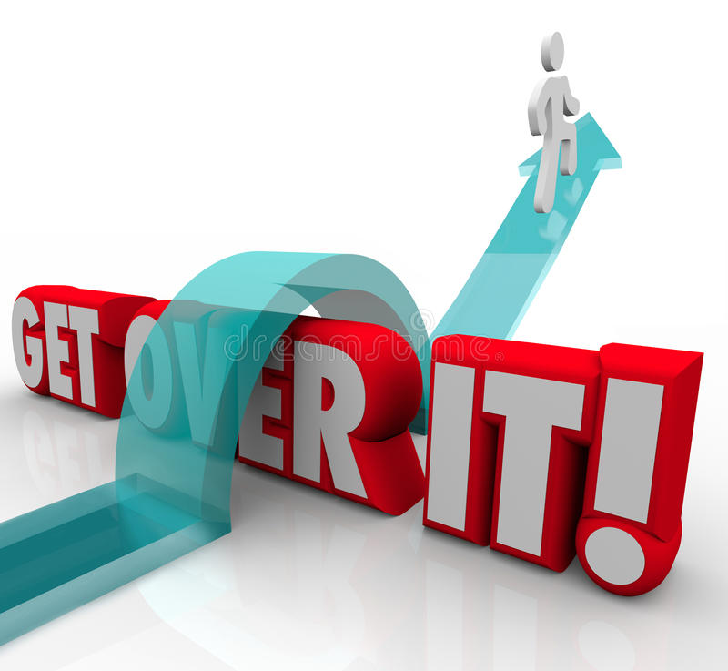 Get Over It Man Jumping Over Words Overcoming Problem Difficult. Get Over It 3d words and man on arrow jumping over and overcoming a problem, challenge stock illustration