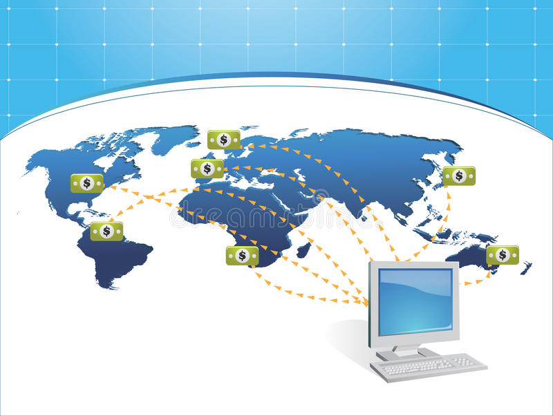 Get payd online. Vector illustration of wire transfer