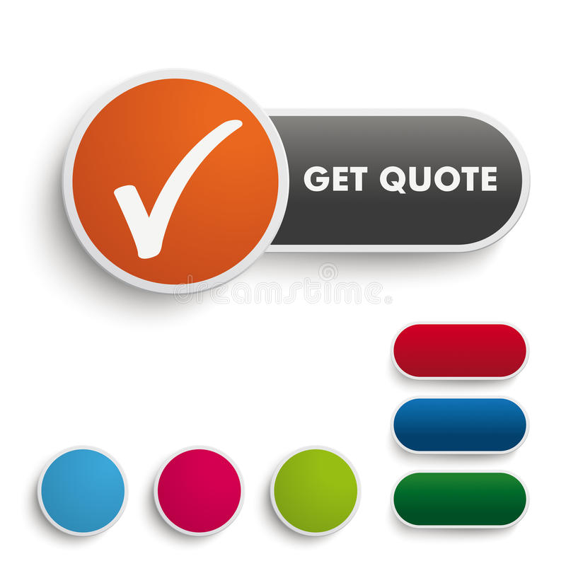 Get Quote Button Black Orange PiAd. Infographic design on the grey background. Eps 10 file royalty free illustration