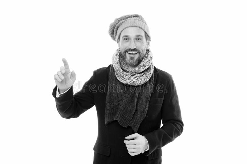 Get ready for frosty days. Mature fashion model enjoy cold weather. Bearded man accessorizing outfit with scarf. Winter stock image