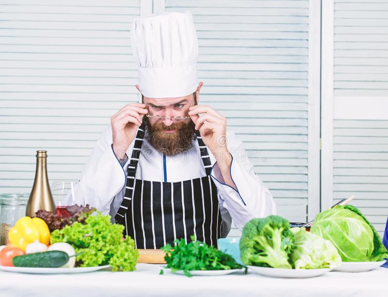 Get ready. Man bearded chef getting ready cooking delicious dish. Chef at work starting shift. Guy in professional. Uniform ready cook. Master chef concept stock photos
