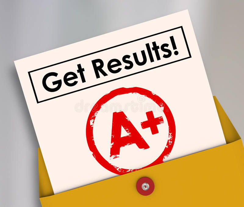 Get Results Report Card Student Letter Grade A+. Get Results and letter grade A+ on a report card as good positive outcome of studying, homework and stock illustration