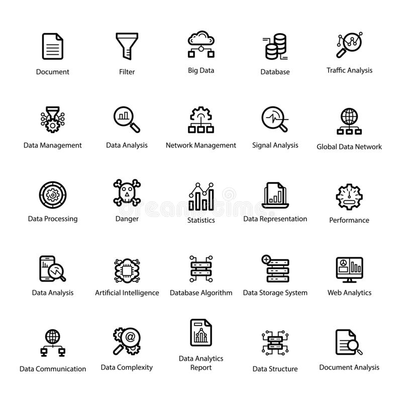 Data Science Line Icons Pack. Get this rich quality of data science visuals for your design project. Data analytics visuals are editable and easy to use. The vector illustration