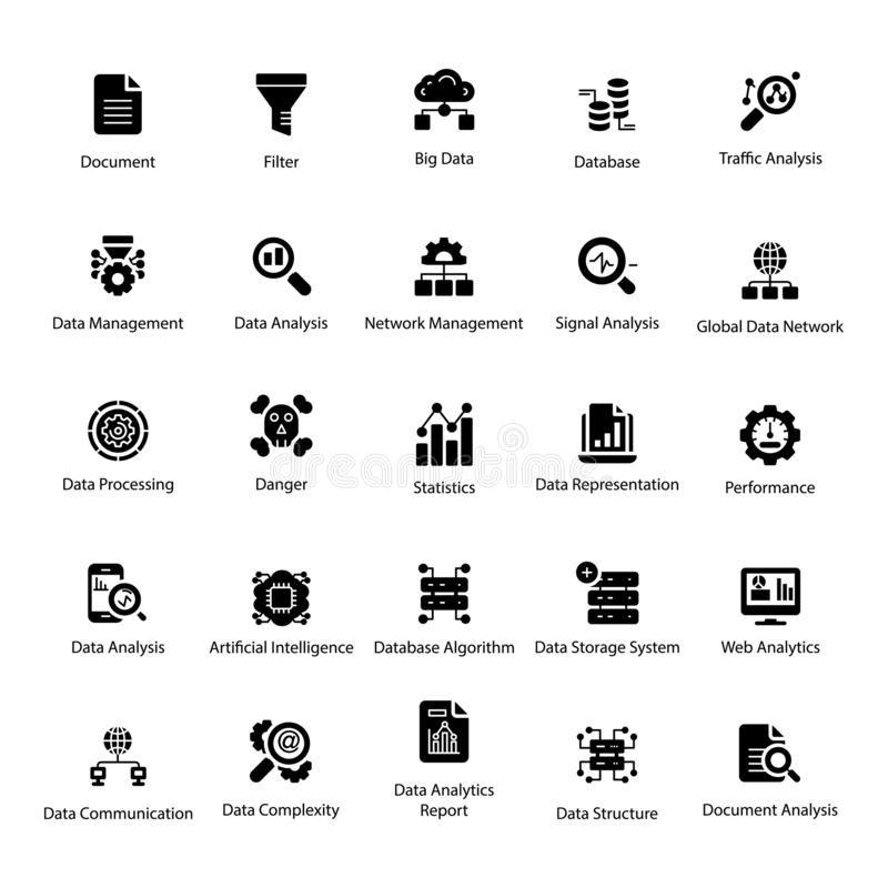 Data Science Solid Icons Pack. Get this rich quality of data science visuals for your design project. Data analytics visuals are editable and easy to use. The royalty free illustration