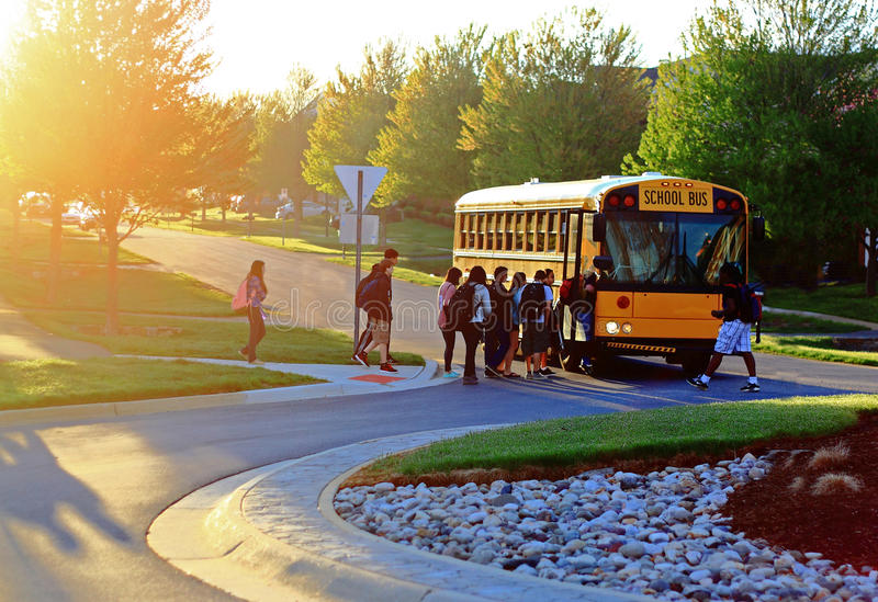 Download Get on School Bus editorial image. Image of kids, teens - 40354935