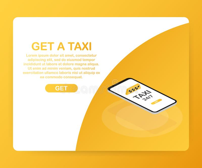 Get a taxi. Taxi banner isometric. Online mobile application order taxi service horizontal illustration. Vector illustration. stock illustration