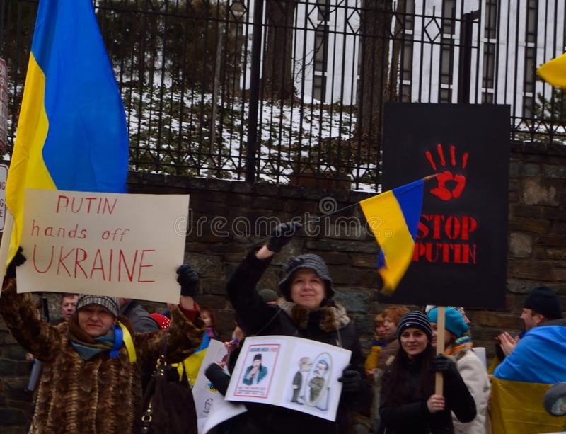 Get the Truth Out. Ukraine supporters stage protest at Russian Embassy in DC on Thursday, March 6, 2014 stock photos