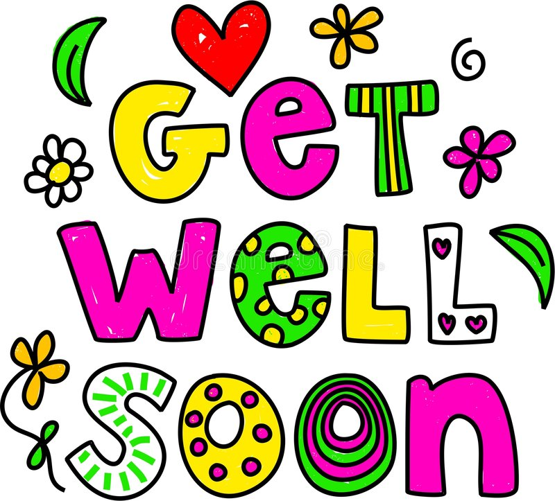 Get well soon. Simple but pretty whimsical text message isolated on white vector illustration