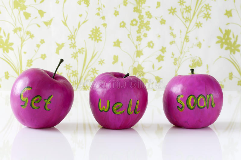 Get well soon card with handpainted apples. Get well soon card with handpainted pink apples stock images