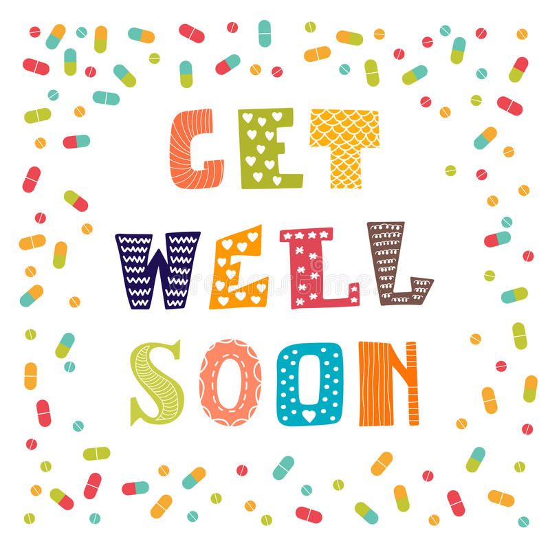 Get well soon card with pills. Greeting card. Vector illustration stock illustration