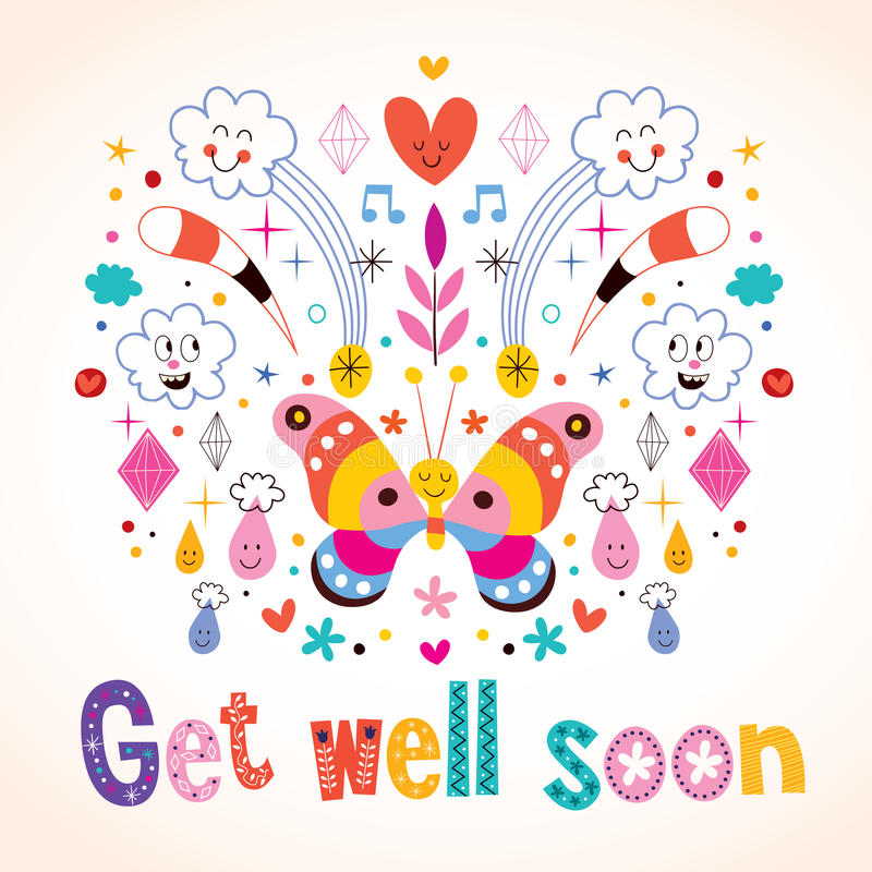 Get well soon greeting card stock illustration