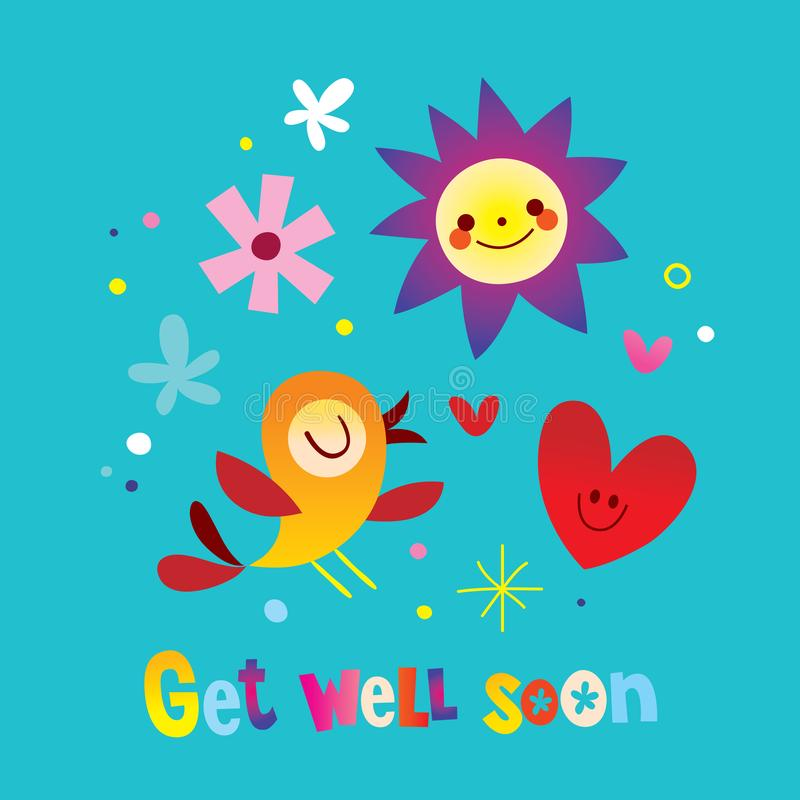 Get well soon. Greeting card stock illustration