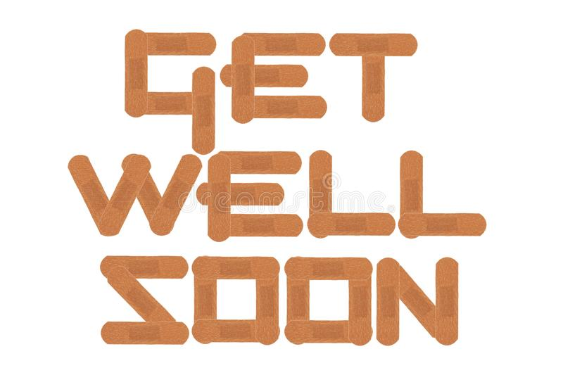 Get well soon message using medical sticking plasters isolated on white with clipping path stock images