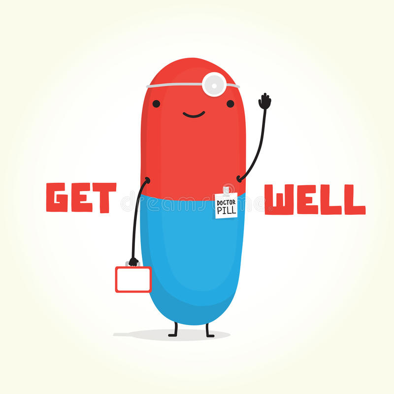 Free Get Well With Doctor Pill Royalty Free Stock Images - 47012929
