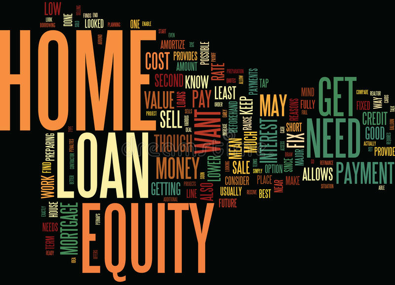 Get Your Home Ready To Sell With A Home Equity Loan Text Background Word Cloud Concept stock illustration
