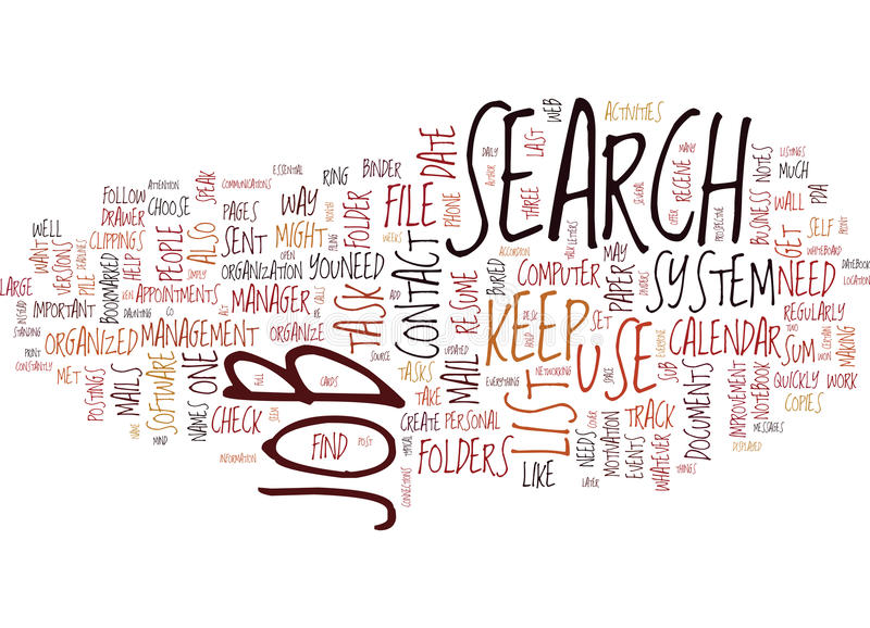 Get Your Job Search Organized Word Cloud Concept royalty free illustration