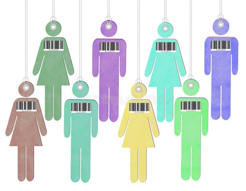 Getaggede und Leute mit Strichcode - menschliches Handeln vektor abbildung