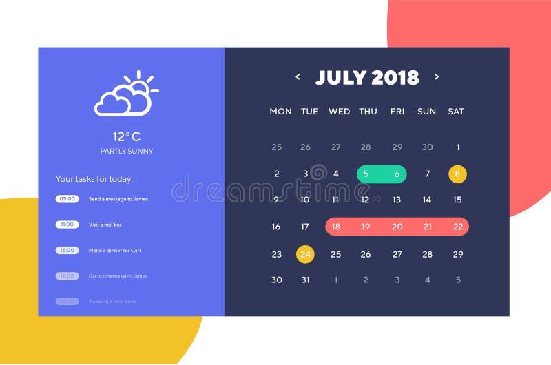 Getaner Tagesplaner und Design Kalender-APP Ui Ux UI-, UX- und GUI-Schablonenplan für bewegliches Apps Kalender Widget lizenzfreie abbildung