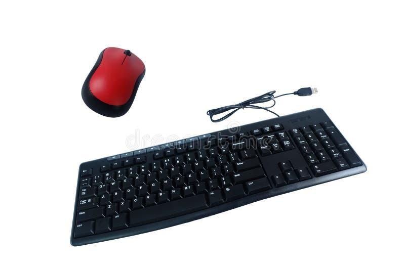 Getelegrafeerd toetsenbord en draadloze die muis op wit, Computertoebehoren wordt geïsoleerd royalty-vrije stock afbeeldingen
