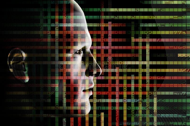 Getelegrafeerde mens en computercode stock illustratie