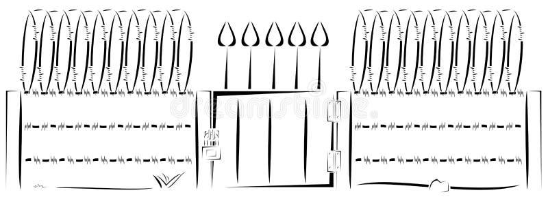 Getelegrafeerde omheining vector illustratie