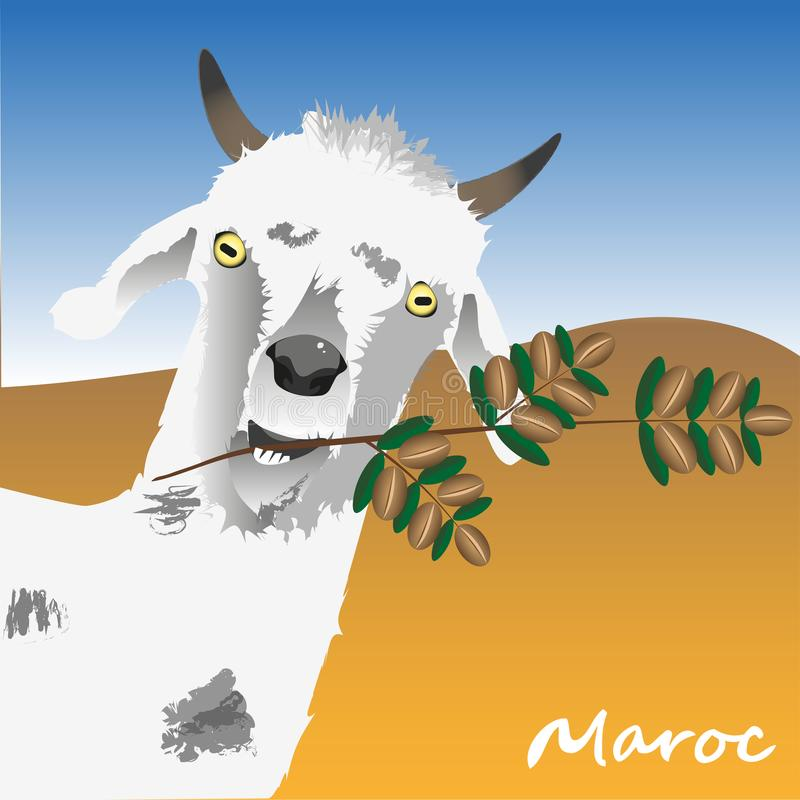 Geten rymmer en filial av ett arganträd med arganmuttrar i hans tänder Symbolet av Marocko illustrationtext in stock illustrationer