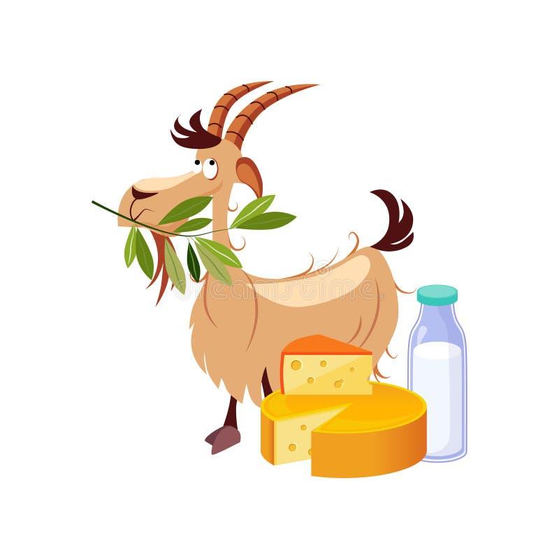 Geten som äter en filial, och uppsättningen av ost och mjölkar mejerimat, lantgården och att bruka den släkta illustrationen i lj stock illustrationer