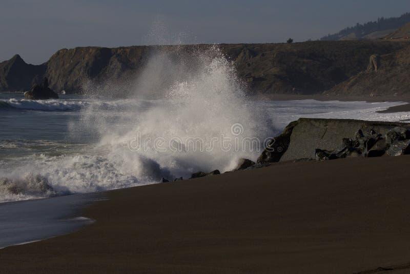 Geten vaggar stranden - nordvästliga Sonoma County, Kalifornien, är munnen av den ryska floden royaltyfri bild