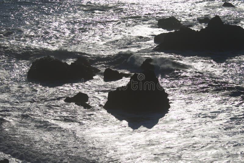 Geten vaggar stranden - nordvästliga Sonoma County, Kalifornien, är munnen av den ryska floden royaltyfria bilder