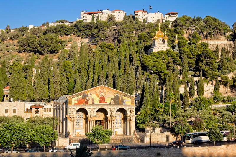 Gethsemane和万国教堂在耶路撒冷 免版税库存图片