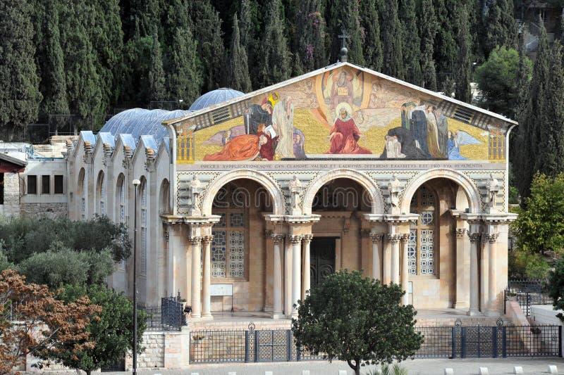 Gethsemane kyrka i Jerusalem royaltyfri bild